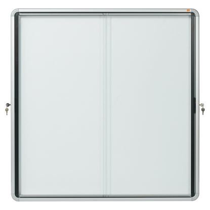 Obrázek Vitrína vnitřní / s posuvnými dveřmi / 12xA4 / bílá / kov