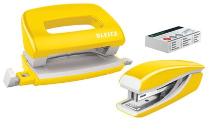 Obrázek Leitz WOW Set mini sešívačka + mini děrovačka žlutá