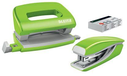 Obrázek Leitz WOW Set mini sešívačka + mini děrovačka zelená