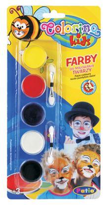 Obrázek Barvy na obličej suché - 5 barev + štětečky