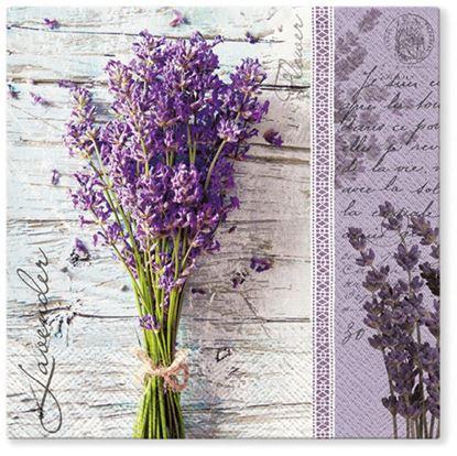 Obrázek Ubrousky papírové - 33 x 33 cm / 20 ks / 3vrst. / Levandule