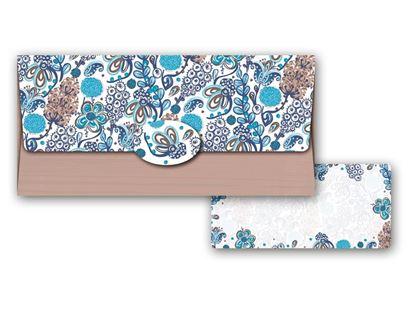 Obrázek Obálka na peníze pro dámy / modro-hnědá s kvety
