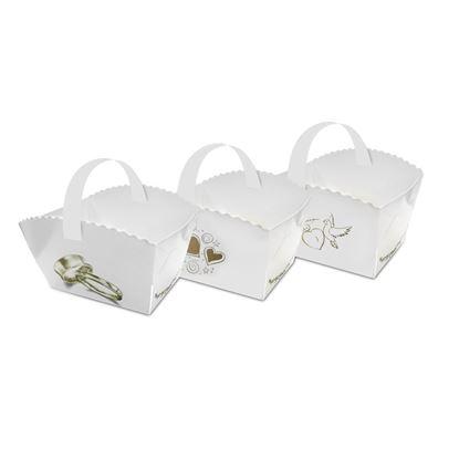 Obrázek Papírový svatební košíček / mix motivů / 9 x 6 x 7 cm