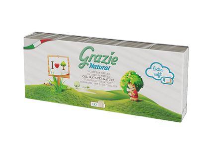 Obrázek Grazie papírové kapesníky ECO NATURAL 4-vrstvé 10x10ks