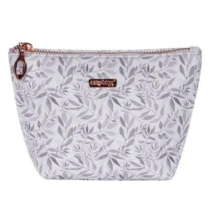 Obrázek Kosmetická taška White leaves / hranatá / malá