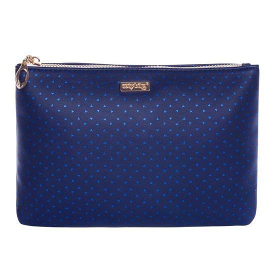 Obrázek z Kosmetická taška Blue triangles / plochá