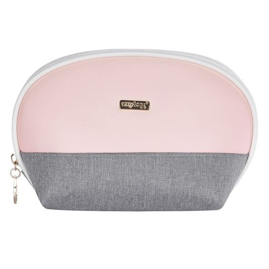 Obrázek z Kosmetická taška Grey salmon / kulatá
