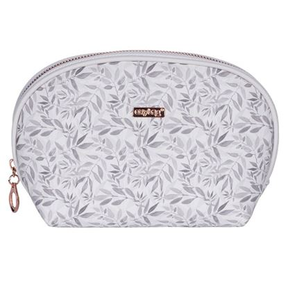 Obrázek Kosmetická taška White leaves / kulatá