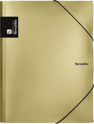 Obrázek Spisové desky A4 s gumou METALLIC - zlatá