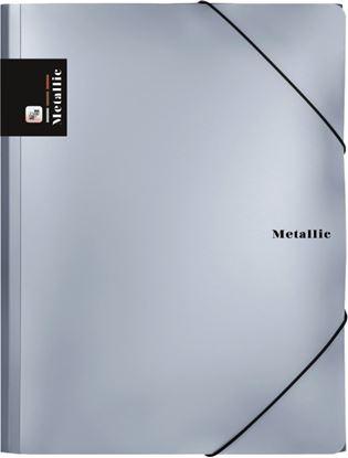 Obrázek Spisové desky A4 s gumou METALLIC - stříbrná