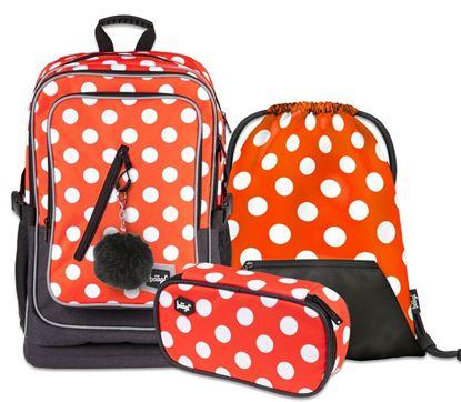 Obrázek Školní set Cubic Puntíky - aktovka + penál + sáček na obuv