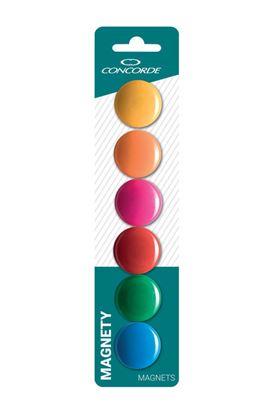 Obrázek Magnety CONCORDE - průměr 30 mm / barevný mix / 6 ks