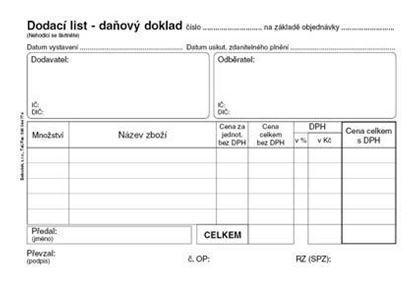 Obrázek Dodací list daňový doklad - A6 / 50 listů / NCR / PT130
