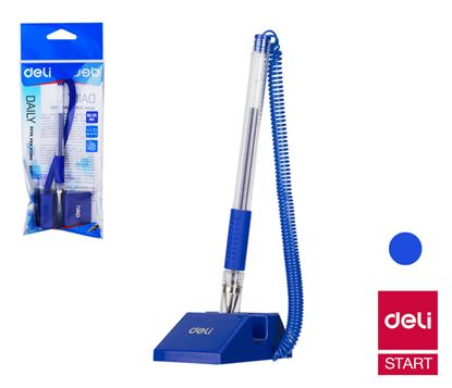 Obrázek Kuličkové pero na stojánku DELI - modrá