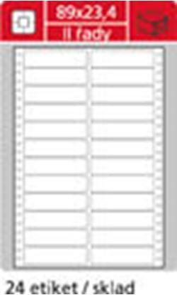 Obrázek Tabelační etikety s vodící drážkou - 89 x 23,4 mm dvouřadé 12000 etiket / 500 skladů