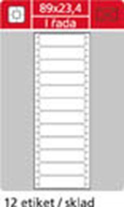 Obrázek Tabelační etikety s vodící drážkou  - 89 x 23,4 mm jednořadé 6000 etiket / 500 skladů