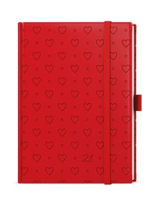 Obrázek Diáre VIVELLA B6 s gumičkou - denní / červená srdce