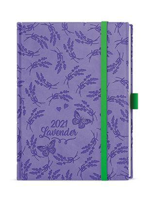 Obrázek Diáre VIVELLA B6 s gumičkou - denní / fialová ornamenty
