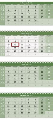 Obrázek Kalendář nástěnný pracovní - čtyřměsíční GREEN skládaný / N213