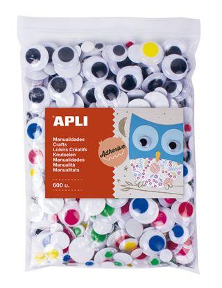 Obrázek Samolepicí pohyblivé oči APLI Jumbo / mix velikostí / 600 ks
