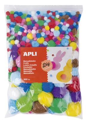 Obrázek Samolepicí Pom Pom kuličky APLI Jumbo / mix velikostí a barev / 500 ks