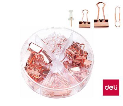 Obrázek Sada kancelářských potřeb - binder clip / špendlíky / sponky / růžové zlato