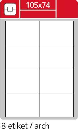 Obrázek Print etikety A4 pro laserový a inkoustový tisk - 105 x 74 mm (8 etiket / arch ) / snímatelné