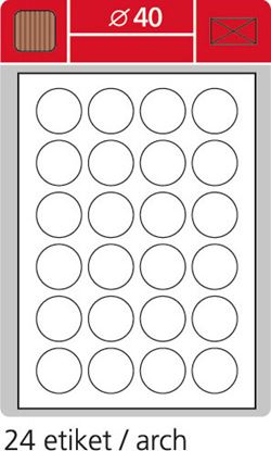 Obrázek Print etikety A4 pro laserový a inkoustový tisk - kulaté prům. 40 cm (24 etiket / arch ) / hnědé (kartonové)