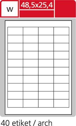 Obrázek Print etikety A4 pro laserový a inkoustový tisk - 48,5 x 25,4 mm (40 etiket / arch ) / transparentní polyester. folie bílá