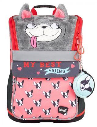 Obrázek Školní batoh Zippy Doggie - s plyšovým povrchem a pláštěnkou