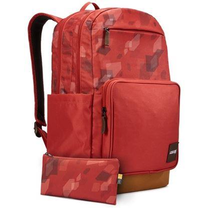"""Obrázek Studentský batoh s kapsou na notebook 15,6"""" Query - cihlově červená se vzorem / kmínově hnědá"""