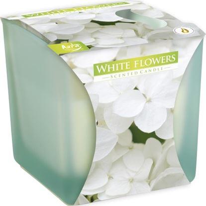 Obrázek Bispol vonná svíčka v matném skle - bílé květy