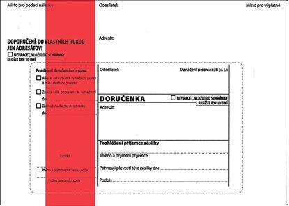 Obrázek Obálky B6 s doručenkou, vytrhovací okénko, s červeným pruhem / 100 ks