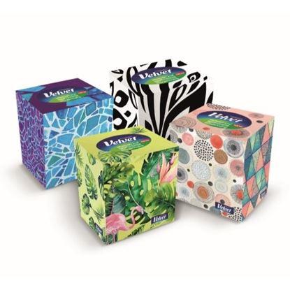 Obrázek Kapesníčky papírové Velvet Cube - třívrstvé / 60 ks
