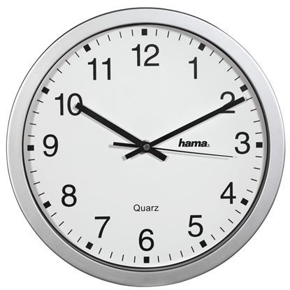 Obrázek Nástěnné hodiny Hama CWA100 stříbrné / průměr 30 cm
