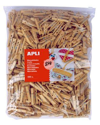 Obrázek Dřevěné kolíčky APLI přirodní / Jumbo / 400 ks