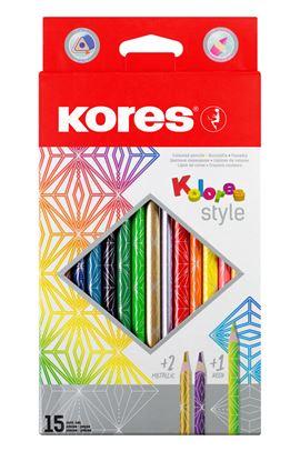 Obrázek Pastelky Kores Kolores Style trojhranné - 15 barev