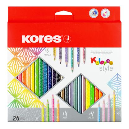 Obrázek Pastelky Kores KOLORES STYLE trojhranné 26 barev