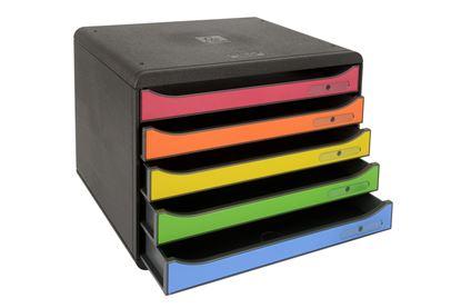 Obrázek Zásuvkový box Exacompta Plus černý duhový / 5 zásuvek na šířku
