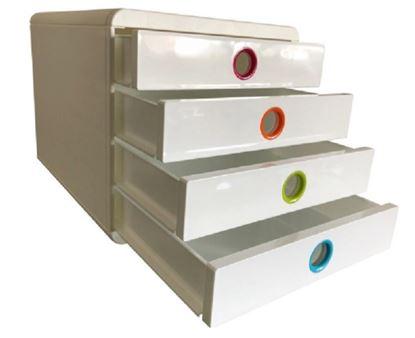 Obrázek Zásuvkový box Exacompta POP bílý duhový / 4 zásuvky na výšku