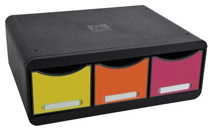Obrázek Zásuvkový box Exacompta Plus nízký / černý duhový / 3 zásuvky na šířku