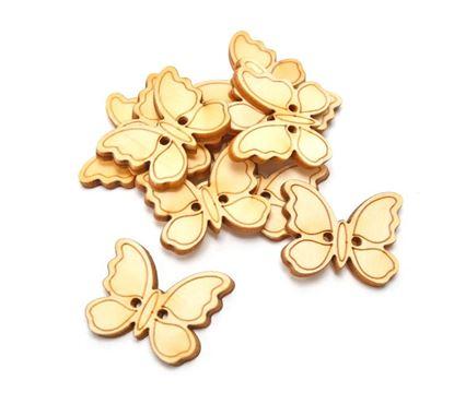 Obrázek Velikonoční dřevěná dekorace - výřez / 10ks knoflíčky motýlci