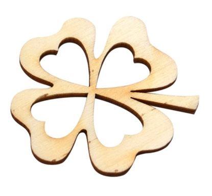 Obrázek Velikonoční dřevěná dekorace - výřez / čtyřlístek malý 4 x 4,5 cm
