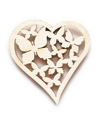Obrázek Velikonoční dřevěná dekorace - výřez / motýlkové srdce 6,5 x 7 cm