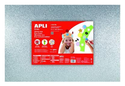 Obrázek Pěnovka APLI třpytivá stříbrná / 600 x 400mm / 3 ks
