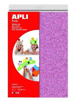 Obrázek Pěnovka A4 APLI - 4 barvy / třpytky mix 1