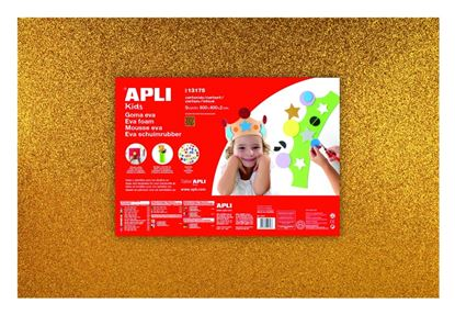 Obrázek Pěnovka APLI třpytivá zlatá / 600 x 400mm / 3 ks