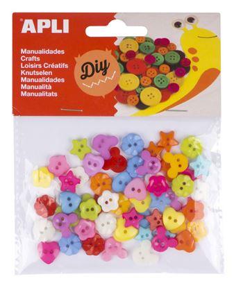 Obrázek Barevné knoflíky APLI plastové / mix motivů / 60 ks