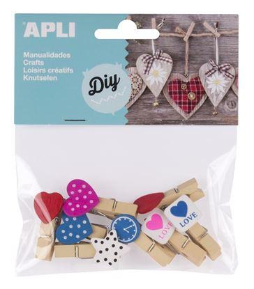 Obrázek Dřevěné kolíčky APLI malé s ozdobami / mix druhů a barev