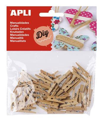 Obrázek Dřevěné kolíčky APLI přírodní / 45 ks